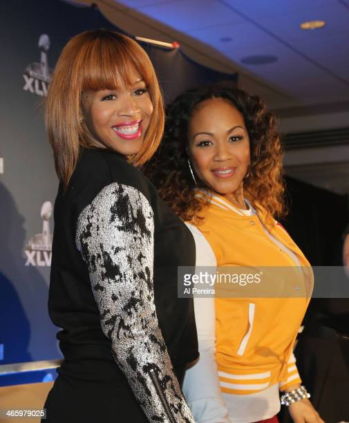 Tina Campbell and Erica Campbell of the gospel duo Mary Mary attend the Super Bowl Gospel Celebration Concert Press Conference at Super Bowl XLVIII...