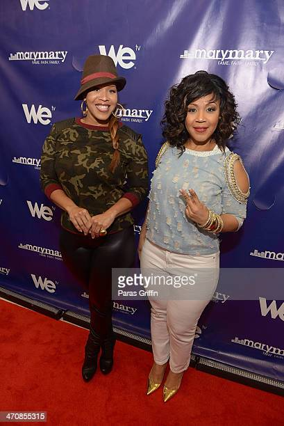 Tina Campbell and Erica Campbell of the gospel duo Mary Mary attends the 'Mary Mary' season three premiere on February 20 2014 in Atlanta United...