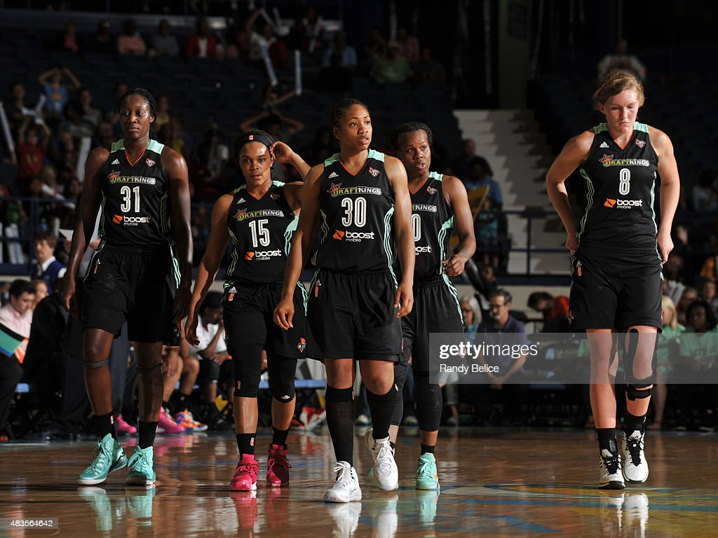 Tina Charles Brittany Boyd Tanisha Wright Epiphanny Prince and Carolyn Swords of the New York Liberty August 7 2015 at Allstate Arena in Rosemont...