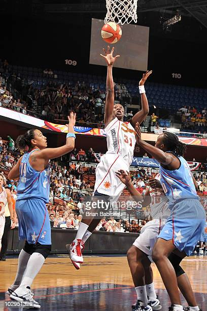 Tina Charles of the Connecticut Sun takes a shot against the Atlanta Dream on July 17 2010 at Mohegan Sun Arena in Uncasville Connecticut NOTE TO...
