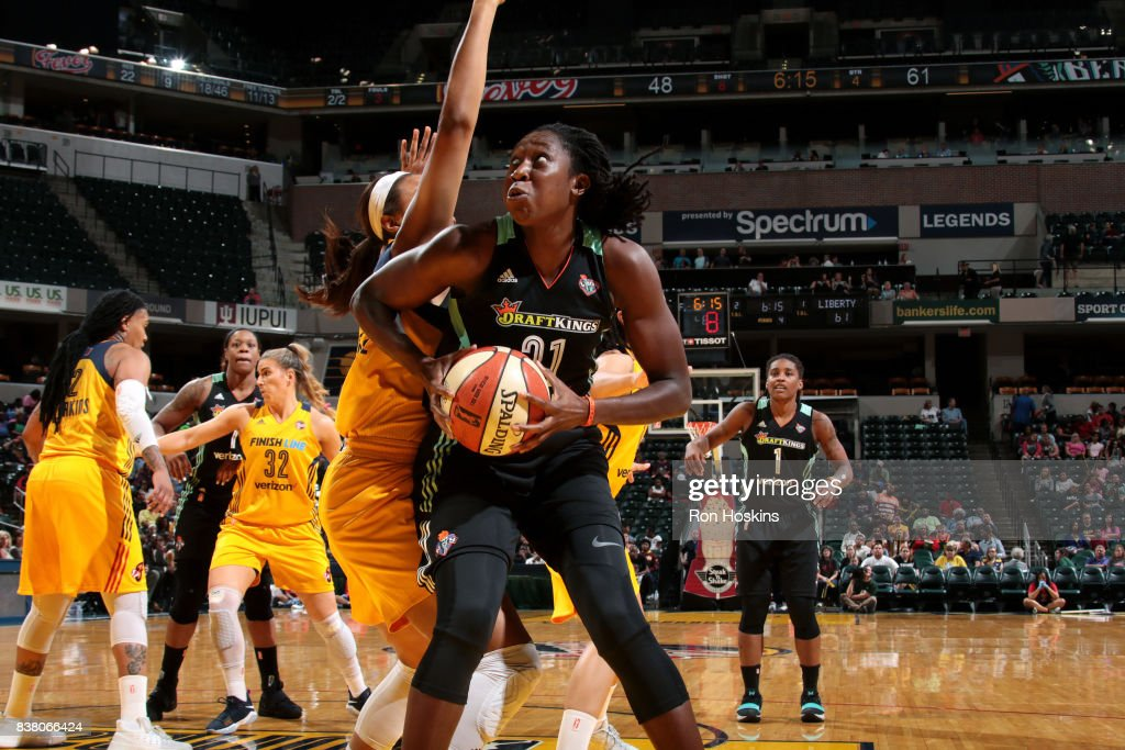 Tina Charles #31 of the New York Liberty goes to the basket during the game against the Indiana Fever during a WNBA game on August 23, 2017 at Bankers Life Fieldhouse in Indianapolis, Indiana.