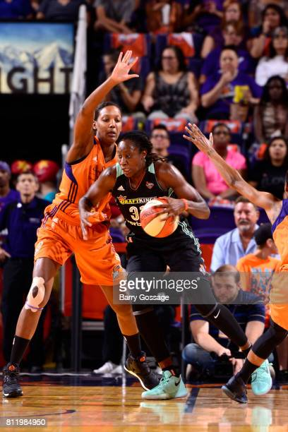 Tina Charles of the New York Liberty handles the ball against the Phoenix Mercury on July 9 2017 at Talking Stick Resort Arena in Phoenix Arizona...