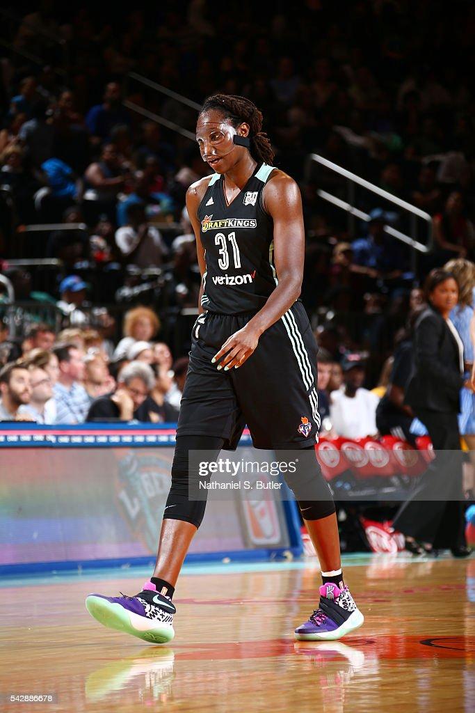 Tina Charles #31 of the New York Liberty is seen during the game against the Chicago Sky on June 24, 2016 at Madison Square Garden in New York, New York.