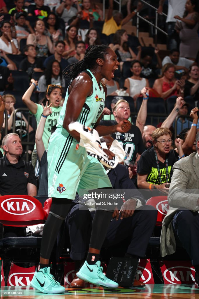 Tina Charles #31 of the New York Liberty reacts during the game against the Washington Mystics on July 16, 2017 at Madison Square Garden in New York, New York.