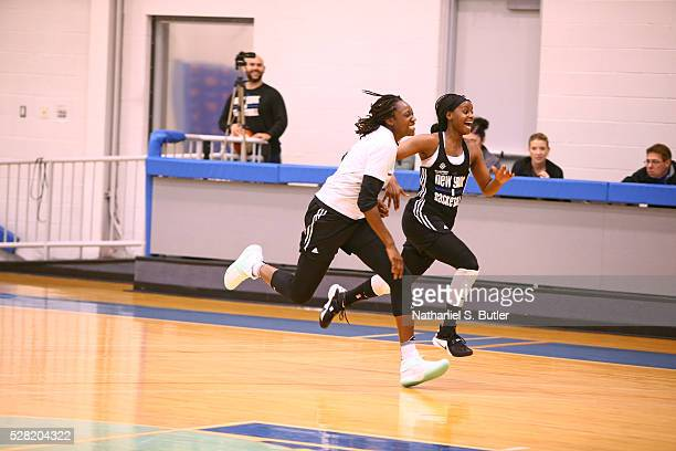 Tina Charles of the New York Liberty runs up court during an All Access practice at the Madison Square Garden Training Facility on May 3 2016 in...