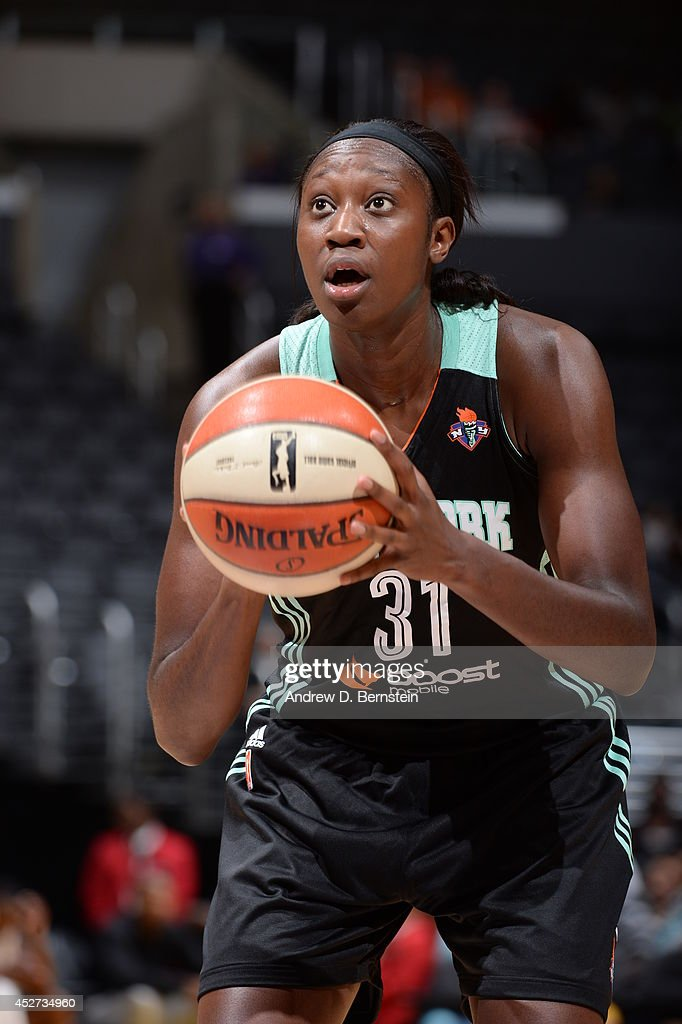 Tina Charles #31 of the New York Liberty shoots against the Los Angeles Sparks at STAPLES Center on July 23, 2014 in Los Angeles, California.
