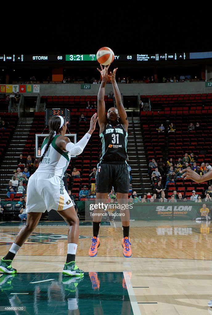 Tina Charles #31 of the New York Liberty shoots against the Seattle Storm on July 24,2014 at Key Arena in Seattle, Washington.