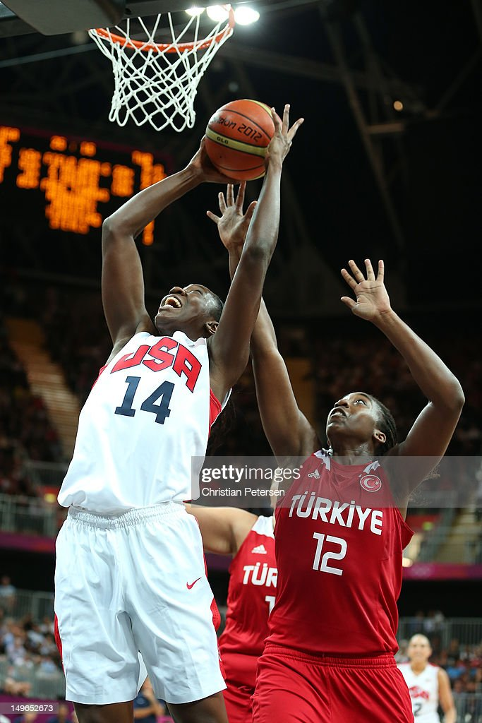 Tina Charles #14 of United States puts up a shot in the Women's Basketball Preliminary Round match between the United States and Turkey on Day 5 of the London 2012 Olympic Games at Basketball Arena on August 1, 2012 in London, England.