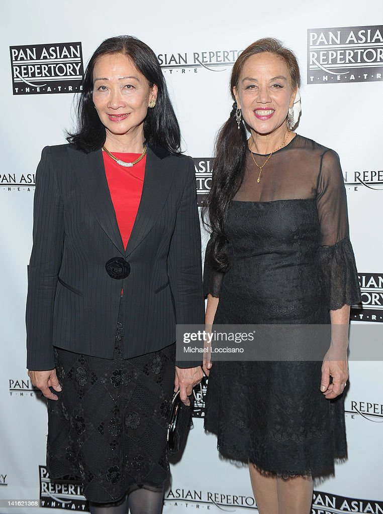 Tina Chen (L) and honoree Napua Davoy attends 'Legacy And Homecoming' the Pan Asian Repertory's 35th Anniversary Gala at The Edison Ballroom on March 19, 2012 in New York City.