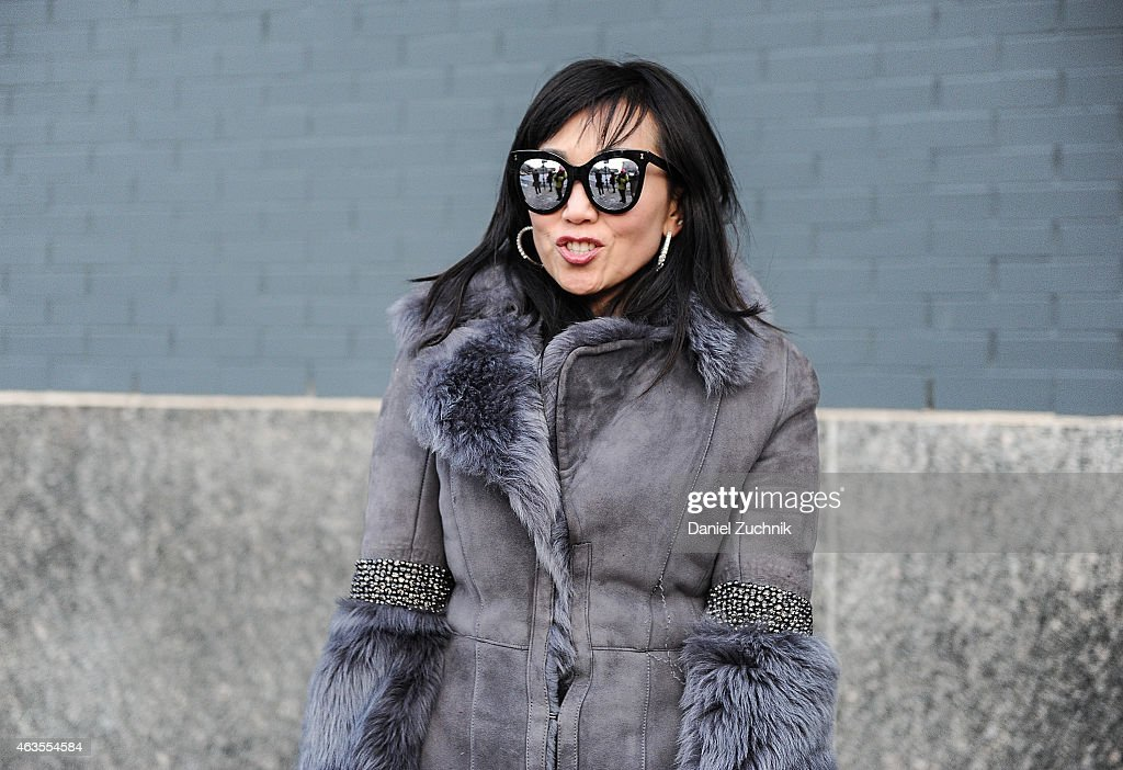 Tina Craig is seen outside the DVF show on February 15, 2015 in New York City.