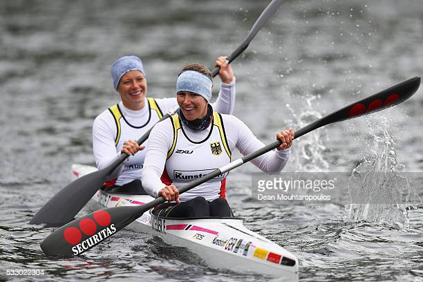 Tina Dietze and Franziska Weber of Germany look on after they compete in the K2 W 500 during Day 1 of the ICF Canoe Sprint World Cup 1 held at...