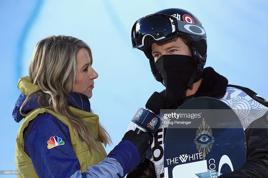 Tina Dixon, NBC Sports commentator Tina Dixon interviews Shaun White during the men's snowboard superpipe final at the Dew Tour iON Mountain Championships on December 14, 2013 in Breckenridge, Colorado.