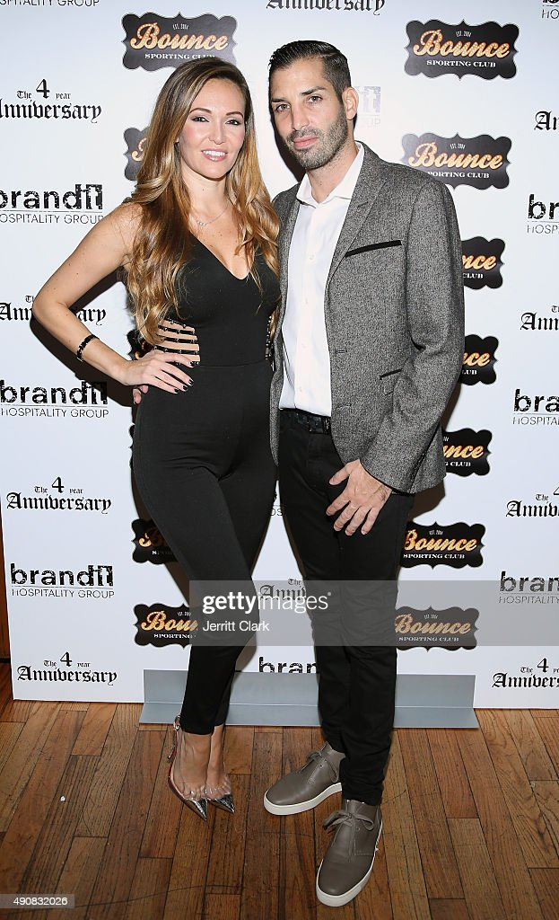 Tina Domingues and Cole Bernard attend the Bounce Sporting Club 4 Year Anniversary Party at Bounce Sporting Club on September 30, 2015 in New York City.