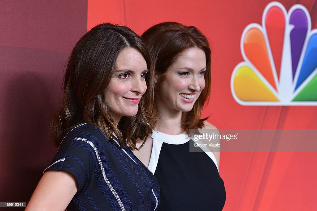 Tina Fey and Ellie Kemper attend the 2014 NBC Upfront Presentation at The Jacob K Javits Convention Center on May 12 2014 in New York City