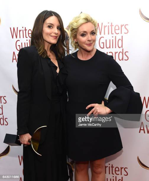 Tina Fey and Jane Krakowski pose backstage with award during 69th Writers Guild Awards New York Ceremony at Edison Ballroom on February 19 2017 in...