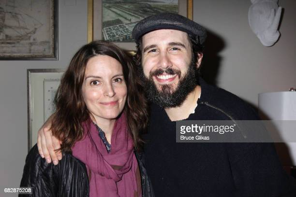 Tina Fey and Josh Groban pose backstage at the hit musical 'Natasha Pierre The Great Comet of 1812' on Broadway at The Imperial Theatre on May 13...