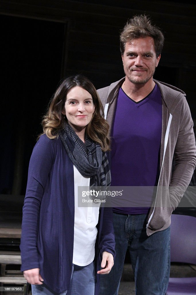 <a gi-track='captionPersonalityLinkClicked' href=/galleries/search?phrase=Tina+Fey&family=editorial&specificpeople=206753 ng-click='$event.stopPropagation()'>Tina Fey</a> and <a gi-track='captionPersonalityLinkClicked' href=/galleries/search?phrase=Michael+Shannon&family=editorial&specificpeople=660513 ng-click='$event.stopPropagation()'>Michael Shannon</a> pose at The Safe Harbor benefit reading of 'Reckless' at Playwrights Horizons on October 28, 2013 in New York City.