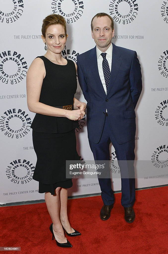 <a gi-track='captionPersonalityLinkClicked' href=/galleries/search?phrase=Tina+Fey&family=editorial&specificpeople=206753 ng-click='$event.stopPropagation()'>Tina Fey</a> and Robert Carlock attend Hey Dummies: An Evening With The 30 Rock Writers Panel Discussion at The Paley Center for Media on February 27, 2013 in New York City.