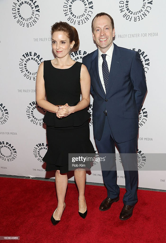 <a gi-track='captionPersonalityLinkClicked' href=/galleries/search?phrase=Tina+Fey&family=editorial&specificpeople=206753 ng-click='$event.stopPropagation()'>Tina Fey</a> (L) and Robert Carlock attend The Paley Center for Media Presents: 'Hey Dummies: An Evening With The 30 Rock Writers' at The Paley Center for Media on February 27, 2013 in New York City.