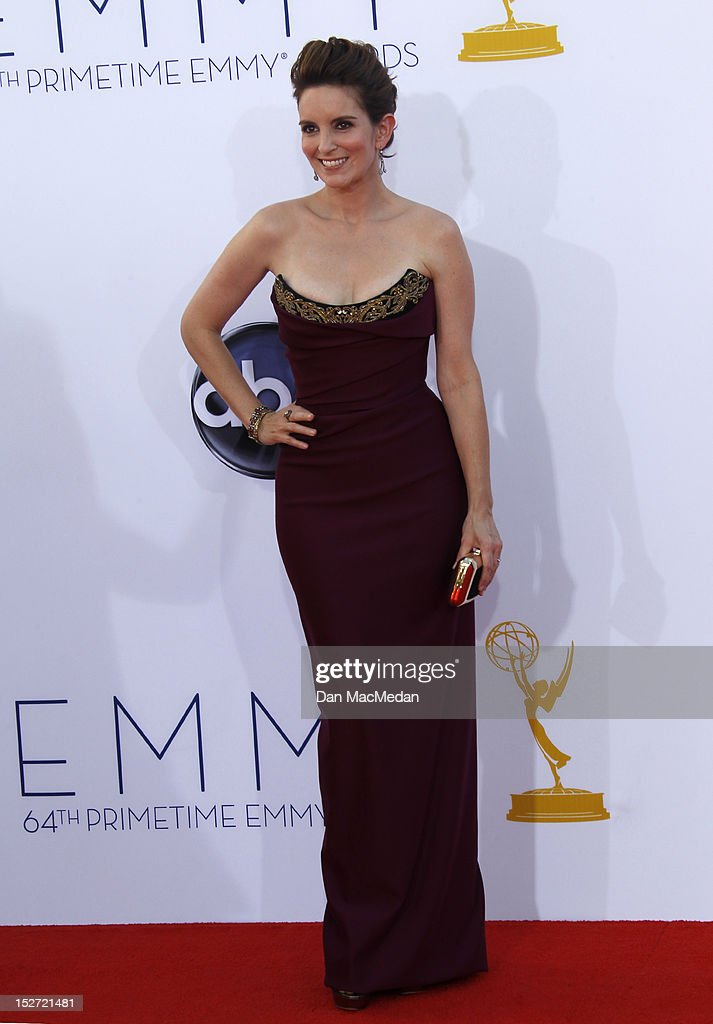 <a gi-track='captionPersonalityLinkClicked' href=/galleries/search?phrase=Tina+Fey&family=editorial&specificpeople=206753 ng-click='$event.stopPropagation()'>Tina Fey</a> arrives at the 64th Primetime Emmy Awards held at Nokia Theatre L.A. Live on September 23, 2012 in Los Angeles, California.