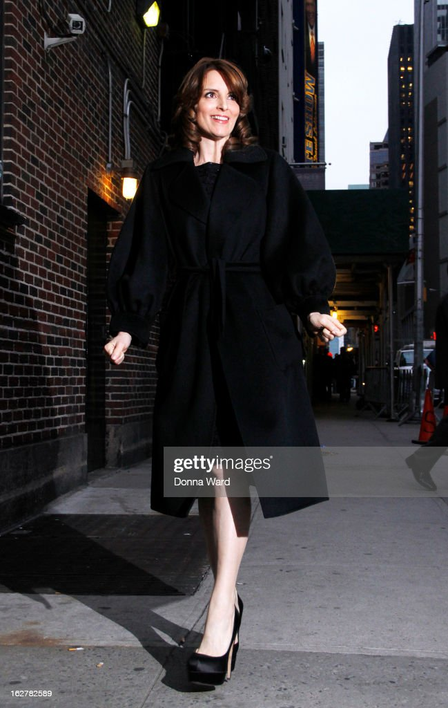 <a gi-track='captionPersonalityLinkClicked' href=/galleries/search?phrase=Tina+Fey&family=editorial&specificpeople=206753 ng-click='$event.stopPropagation()'>Tina Fey</a> arrives for the 'Late Show with David Letterman' at Ed Sullivan Theater on February 26, 2013 in New York City.