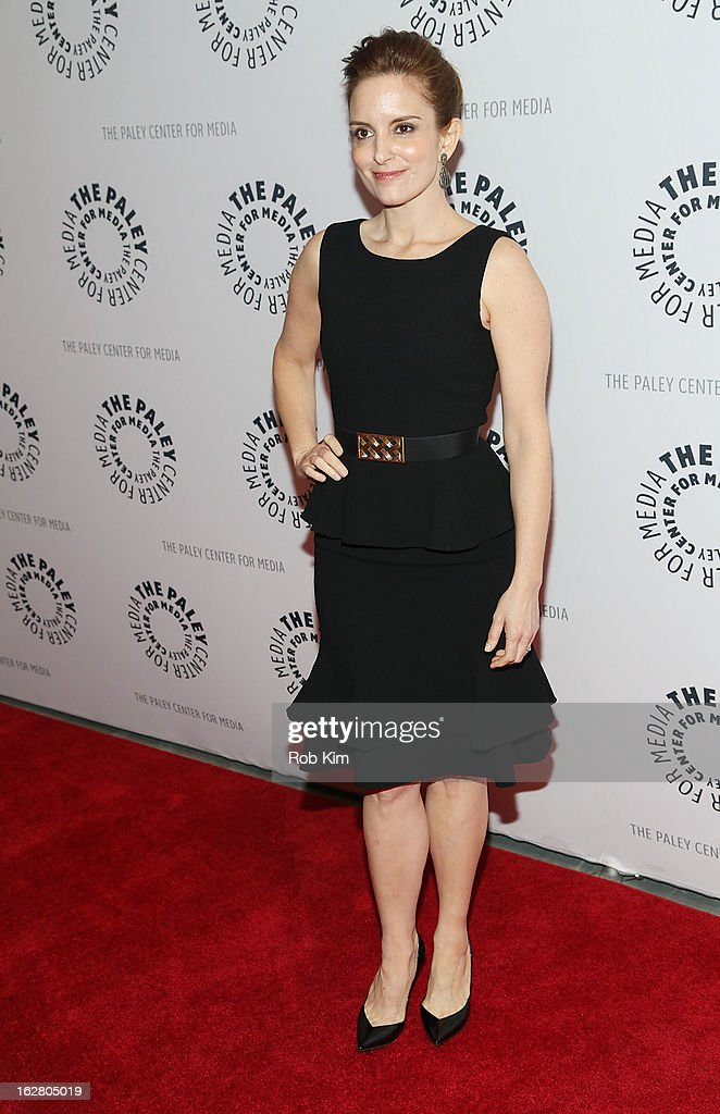 <a gi-track='captionPersonalityLinkClicked' href=/galleries/search?phrase=Tina+Fey&family=editorial&specificpeople=206753 ng-click='$event.stopPropagation()'>Tina Fey</a> attends The Paley Center for Media Presents: 'Hey Dummies: An Evening With The 30 Rock Writers' at The Paley Center for Media on February 27, 2013 in New York City.