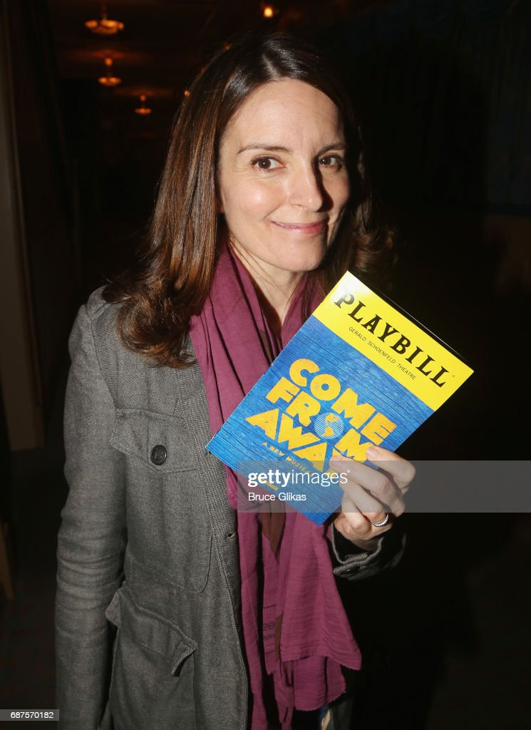 Tina Fey poses backstage at the hit musical 'Come From Away' on Broadway at The Schoenfeld Theatre on May 23, 2017 in New York City.