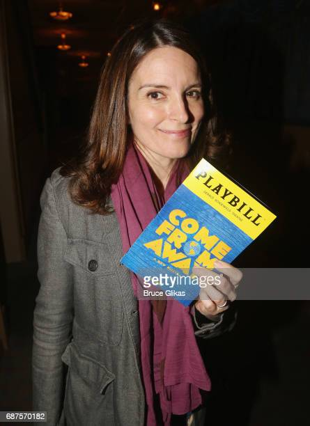 Tina Fey poses backstage at the hit musical 'Come From Away' on Broadway at The Schoenfeld Theatre on May 23 2017 in New York City