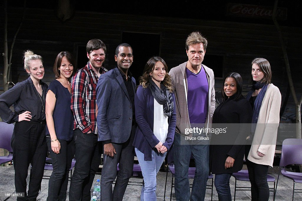 <a gi-track='captionPersonalityLinkClicked' href=/galleries/search?phrase=Tina+Fey&family=editorial&specificpeople=206753 ng-click='$event.stopPropagation()'>Tina Fey</a> poses with the cast at The Safe Harbor benefit reading of 'Reckless' at Playwrights Horizons on October 28, 2013 in New York City.
