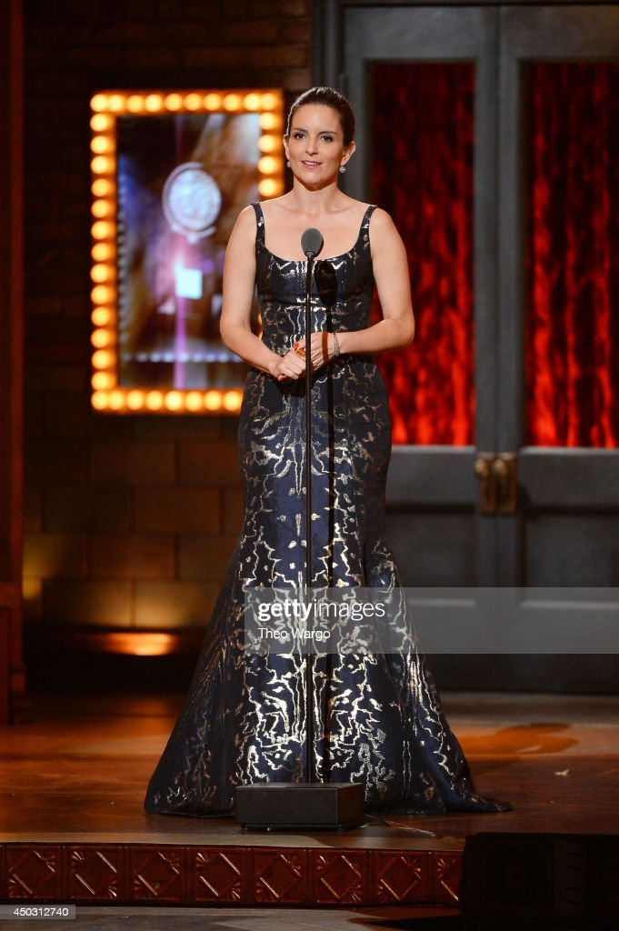 <a gi-track='captionPersonalityLinkClicked' href=/galleries/search?phrase=Tina+Fey&family=editorial&specificpeople=206753 ng-click='$event.stopPropagation()'>Tina Fey</a> speaks onstage during the 68th Annual Tony Awards at Radio City Music Hall on June 8, 2014 in New York City.