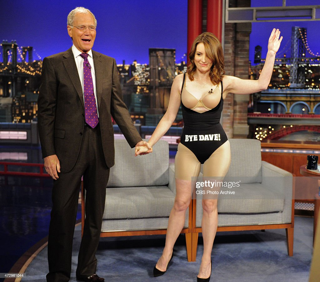 Tina Fey takes off her dress after her last appearance on the CBS Late Show with David Letterman Thursday May 7 2015 on the CBS Television Network