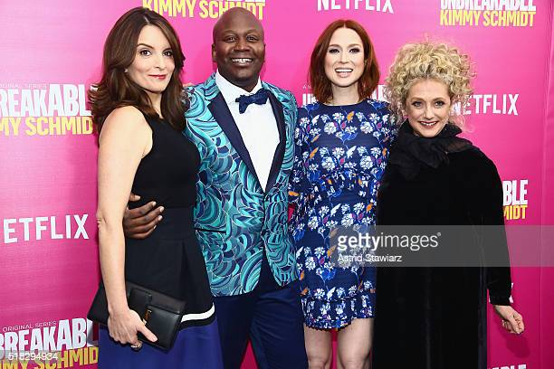 Tina Fey Tituss Burgess Ellie Kemper and Carol Kane attend the 'Unbreakable Kimmy Schmidt' Season 2 world premiere at SVA Theatre on March 30 2016 in...