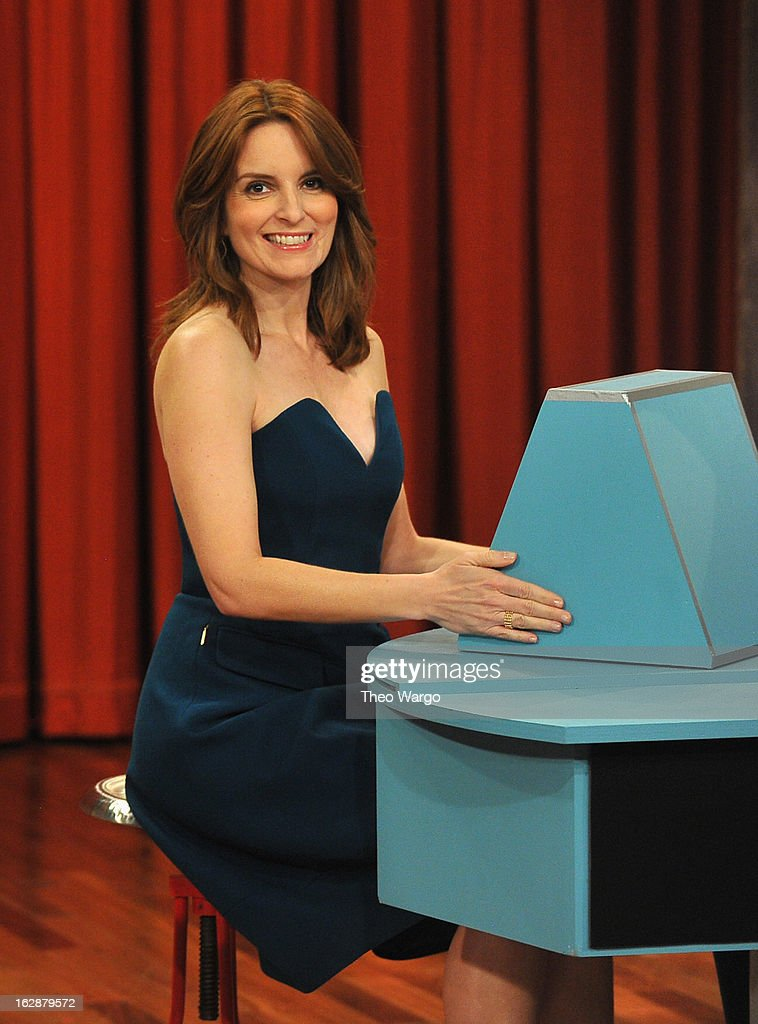 <a gi-track='captionPersonalityLinkClicked' href=/galleries/search?phrase=Tina+Fey&family=editorial&specificpeople=206753 ng-click='$event.stopPropagation()'>Tina Fey</a> visits 'Late Night With Jimmy Fallon' at Rockefeller Center on February 28, 2013 in New York City.