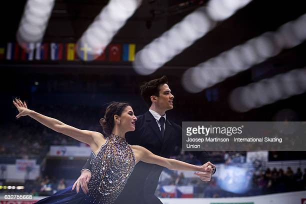Tina Garabedian and Simon ProulxSenecal of Armenia compete in the Ice Dance Short Dance during day 2 of the European Figure Skating Championships at...