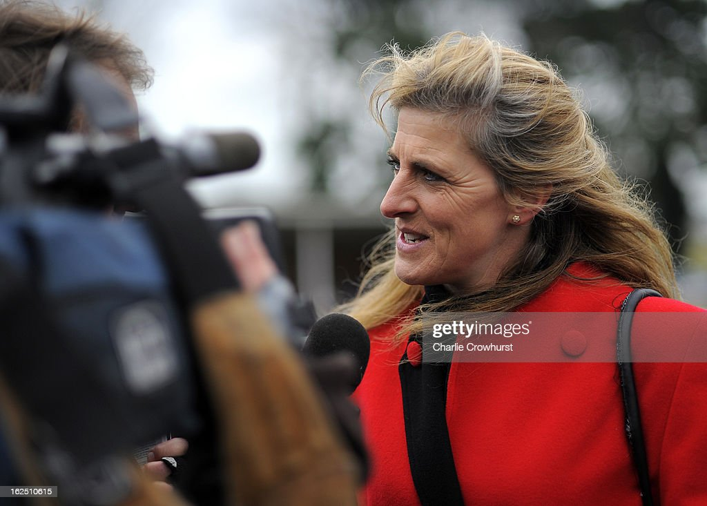 Tina Gifford chats to tv at Fontwell Park racecourse on February 24, 2013 in Fontwell, England.