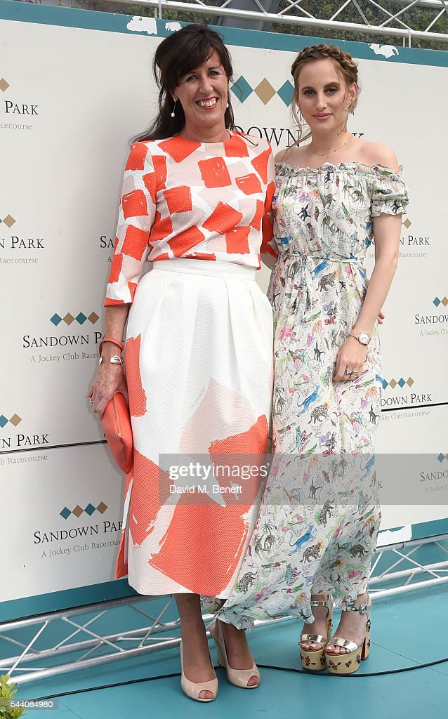 Tina Gough and Rosie Fortescue attend the Sandown Park Racecourse Ladies' Day STYLE AWARD Hosted by Rosie Fortescue at Sandown Park on July 1, 2016 in Esher, England.