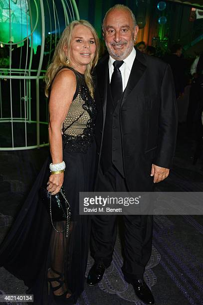 Tina Green and Sir Philip Green attend Lisa Tchenguiz's 50th birthday party at the Troxy on January 24 2015 in London England