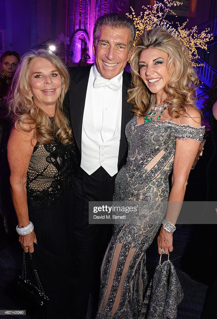 Tina Green Steve Varsano and Lisa Tchenguiz attend Lisa Tchenguiz's 50th birthday party at the Troxy on January 24 2015 in London England