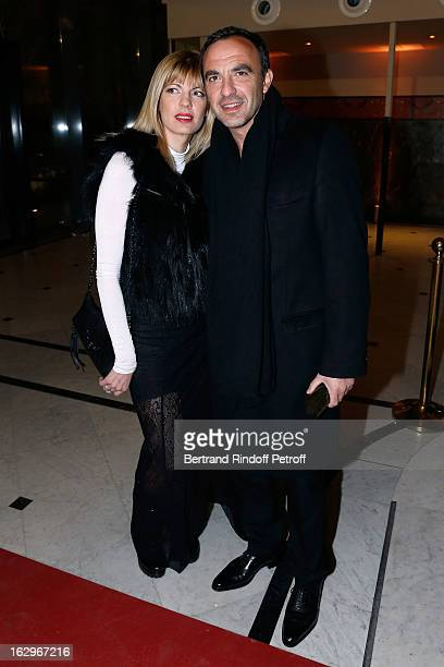 Tina Grigoriou and Nikos Aliagas attend the Jean Paul Gaultier Fall/Winter 2013 ReadytoWear show as part of Paris Fashion Week on March 2 2013 in...
