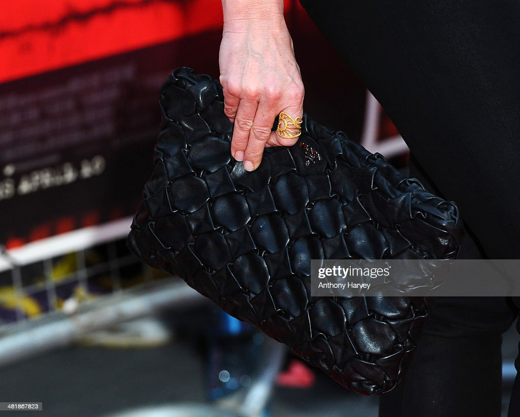 <a gi-track='captionPersonalityLinkClicked' href=/galleries/search?phrase=Tina+Hobley&family=editorial&specificpeople=206981 ng-click='$event.stopPropagation()'>Tina Hobley</a> (Bag Detail) attends the World Premiere of 'The Quiet Ones' at Odeon West End on April 1, 2014 in London, England.