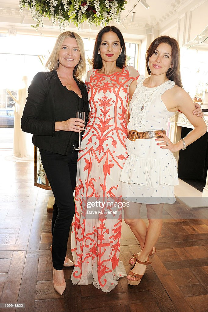 Tina Hobley, Yasmin Mills and Lauren Kemp attend the Salon Tea hosted by Alice Temperley and Yasmin Mills at Temperley London on June 4, 2013 in London, England.