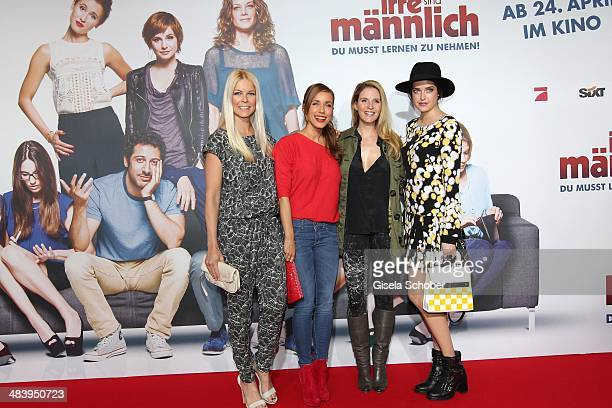 Tina Kaiser Annemarie Carpendale Viola Weiss Marie Nasemann attend the premiere of the film 'Irre sind maennlich' at Mathaeser Filmpalast on April 10...