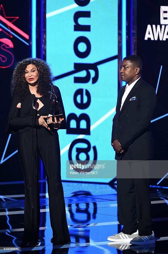 Tina Knowles (L) and Chief Operating Officer at Parkwood Entertainment Steve Pamon accept (on behalf of winner Beyonce)the Coca-Cola Viewers' Choice Award for 'Formation' onstage during the 2016 BET Awards at the Microsoft Theater on June 26, 2016 in Los Angeles, California.