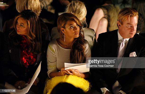 Tina Knowles Beyonce Knowles and Paul Wilmot during Olympus Fashion Week Fall 2005 Oscar De La Renta Front Row at The Tent Bryant Park in New York...
