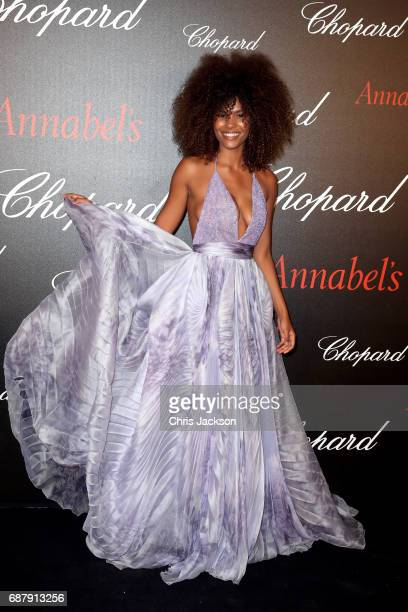 Tina Kunakey attends the Annabel's Chopard Party during the 70th annual Cannes Film Festival at Martinez Hotel on May 24 2017 in Cannes France