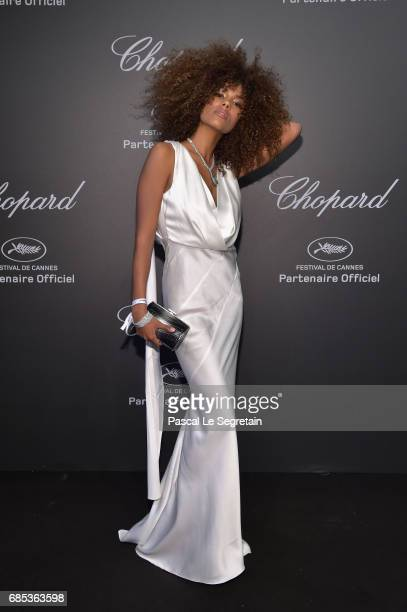"""Tina Kunakey attends the Chopard """"SPACE Party"""" hosted by Chopard's copresident Caroline Scheufele and Rihanna at Port Canto on May 19 in Cannes France"""
