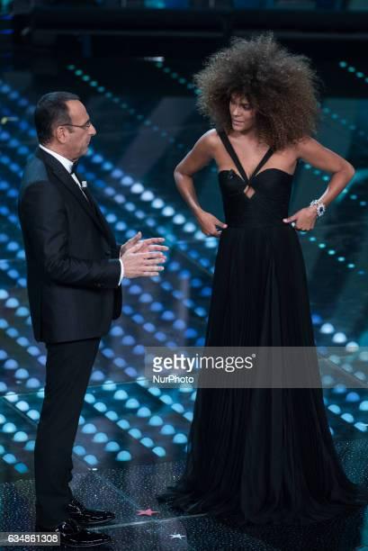 Tina Kunakey Di Vita attends the closing night of 67th Sanremo Festival 2017 at Teatro Ariston on February 11 2017 in Sanremo Italy