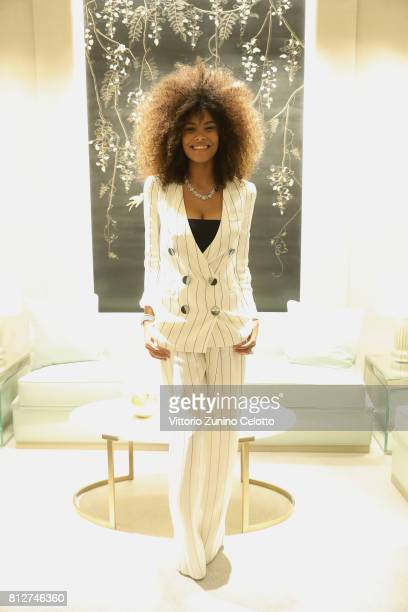 Tina Kunakey wears Tiffany's jewellery at the cocktail party to celebrate the new Tiffany Co store in Piazza Duomo on July 11 2017 in Milan Italy