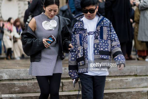 Tina Leung and Declan Chan outside Maison Margiela on March 1 2017 in Paris France