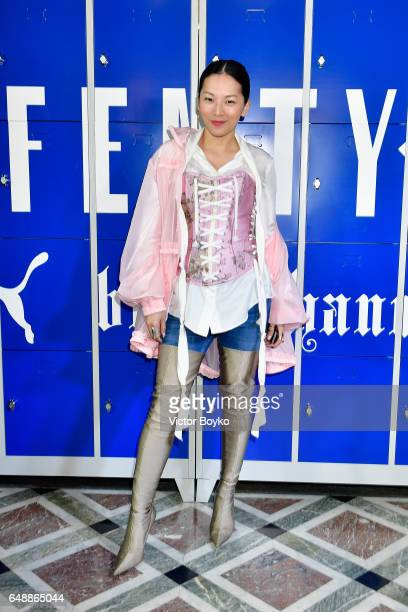 Tina Leung attends FENTY PUMA by Rihanna Fall / Winter 2017 Collection at Bibliotheque Nationale de France on March 6 2017 in Paris France